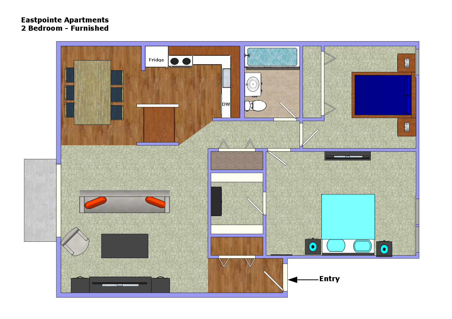 Two Bedrooms Floor Plans Eastpointe Apartments